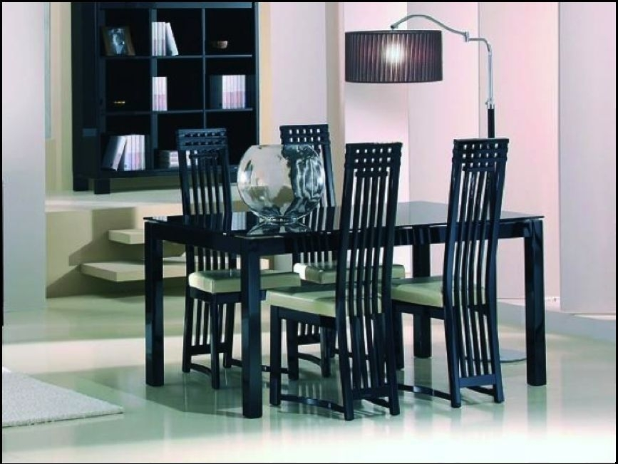 Casabella Black High Gloss Dining Table With Four Dining Chairs | In For Black Gloss Dining Sets (Image 7 of 25)