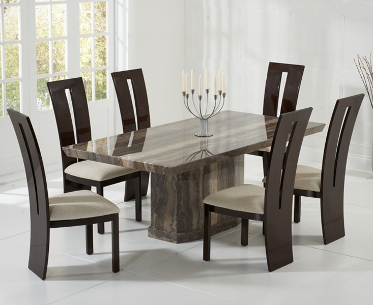 Casalivin Black Or Brown Clawton Marble Dining Table For Marble Dining Chairs (Image 8 of 25)