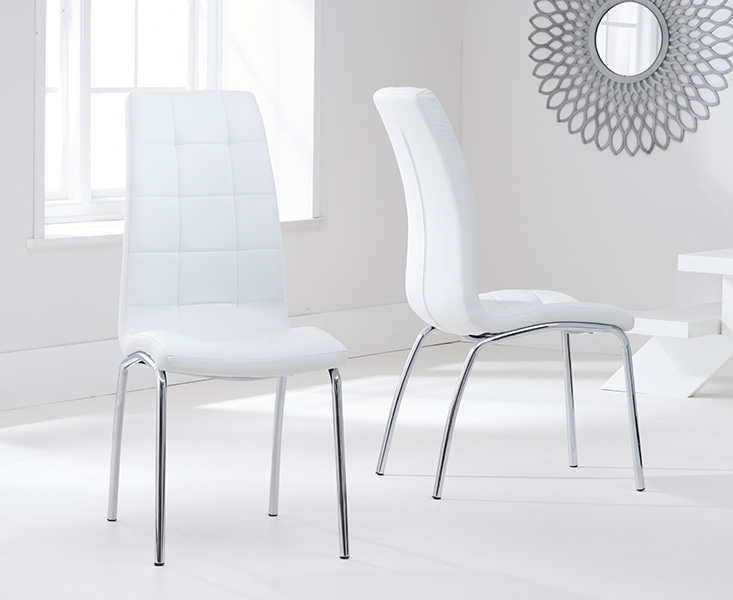 Casalivin Cremyll Pu Upholstered Dining Chair With Chrome Legs In Chrome Leather Dining Chairs (Image 6 of 25)