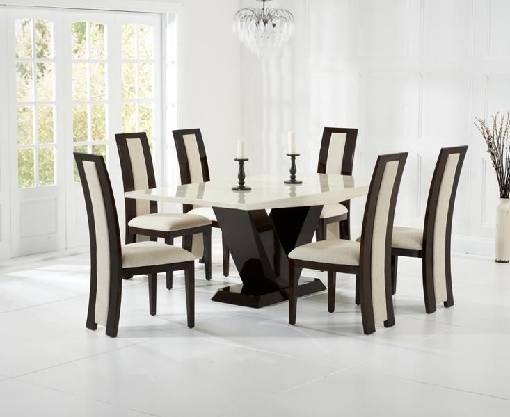 Casalivin Roseland Brown Or Cream Black Constituted Marble Effect With Regard To Marble Effect Dining Tables And Chairs (View 24 of 25)
