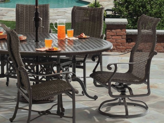 Cast Aluminum – Fortunoff Backyard Store Intended For Valencia 72 Inch 7 Piece Dining Sets (Image 8 of 25)