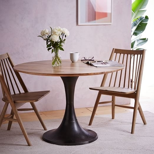 Cast Pedestal Dining Table, Cafe/burnished Bronze | Home | Pinterest Inside Pedestal Dining Tables And Chairs (View 16 of 25)