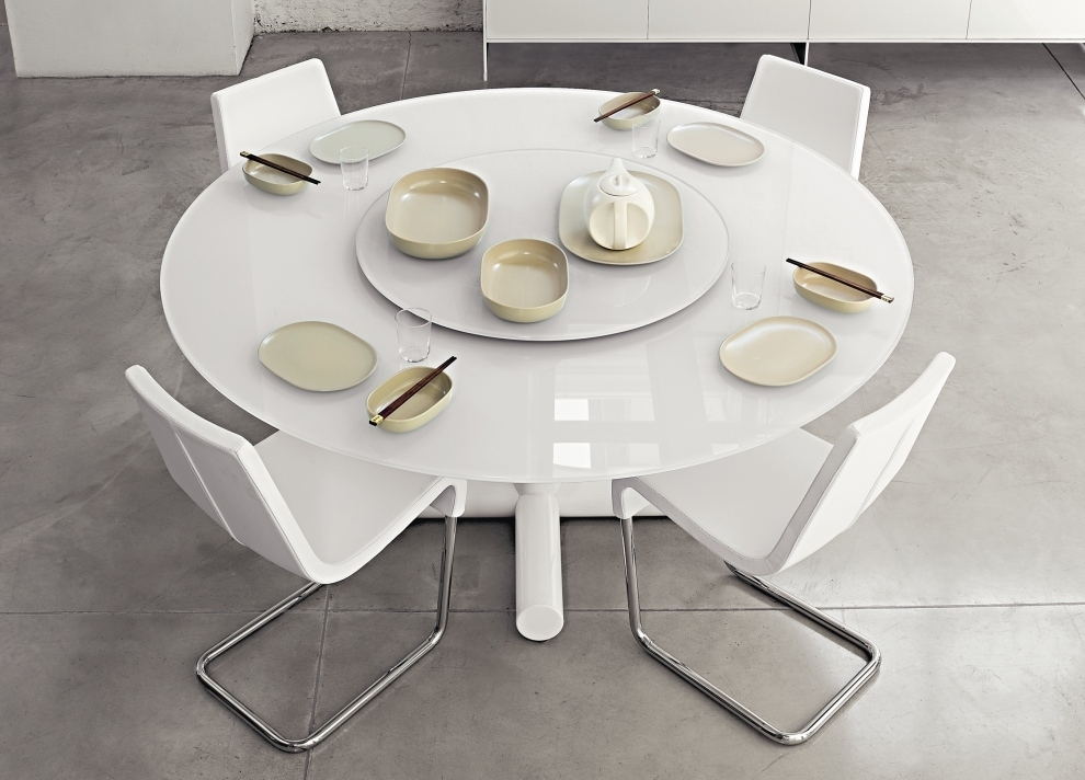 Catchy Round White Dining Table Set Tables Bekah Industrial Rustic Pertaining To White Round Extending Dining Tables (Image 4 of 25)