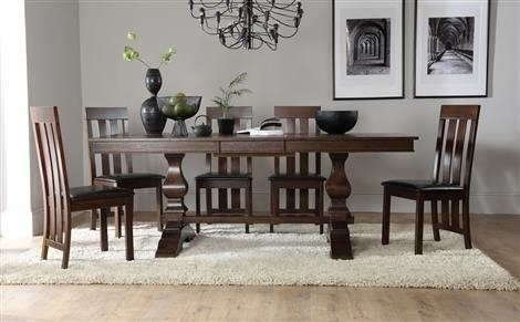 Cavendish Dark Wood Extending Dining Table With 4 Chester Chairs Regarding Dark Wood Extending Dining Tables (Image 4 of 25)
