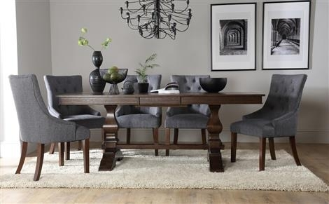 Cavendish Dark Wood Extending Dining Table With 8 Bewley Silver In Dark Wood Dining Tables (Image 1 of 25)