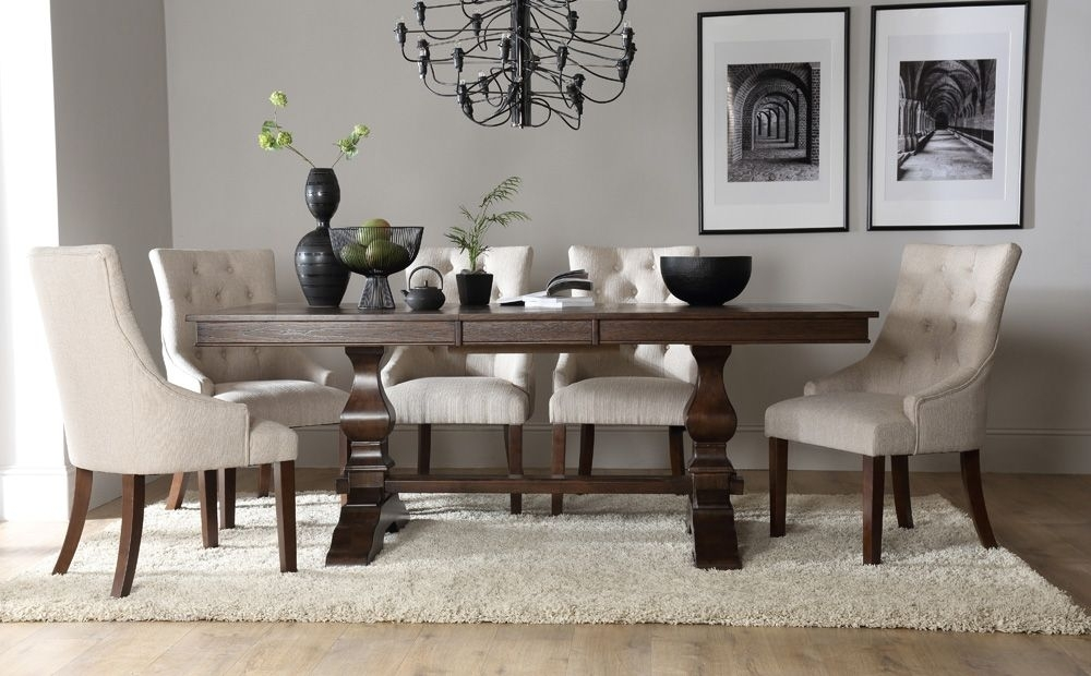 Cavendish Dark Wood Extending Dining Table With Duke Oatmeal Chairs Throughout Dark Wood Extending Dining Tables (Image 5 of 25)