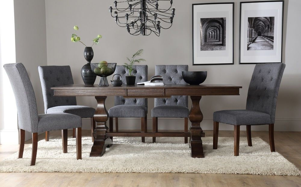 Cavendish & Hatfield Extending Dark Wood Dining Table & 4 6 8 Chairs Intended For Dark Wood Dining Tables And 6 Chairs (Image 5 of 25)