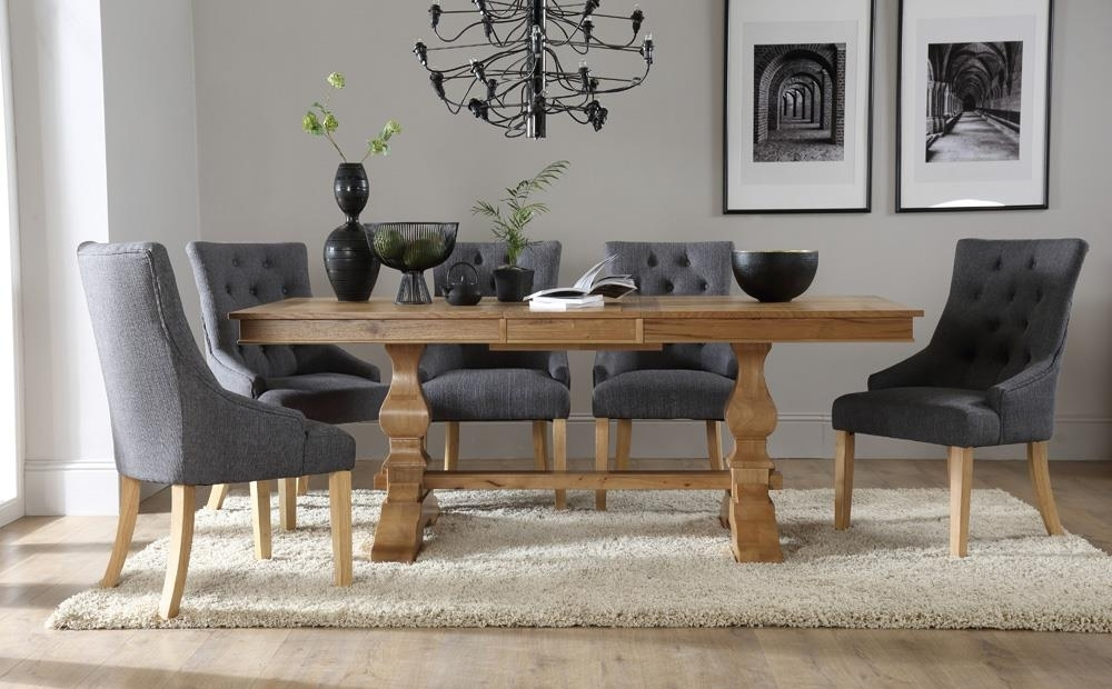 Cavendish Oak Extending Dining Table With 6 Duke Slate Chairs Only In Oak Extendable Dining Tables And Chairs (View 7 of 25)