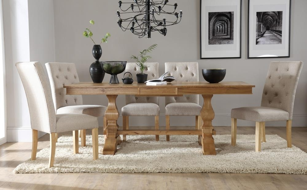 Cavendish Oak Extending Dining Table With 6 Hatfield Oatmeal Chairs Within Oak Extending Dining Tables Sets (Image 7 of 25)