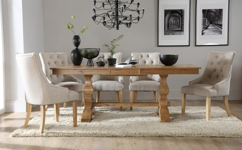 Cavendish Oak Extending Dining Table With 8 Duke Oatmeal Chairs Only With Regard To Oak Extending Dining Tables And 8 Chairs (Image 9 of 25)