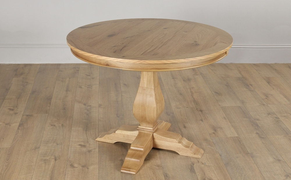 Cavendish Round Oak Dining Table – 100Cm | Ebay Throughout Oak Dining Tables (Image 1 of 25)