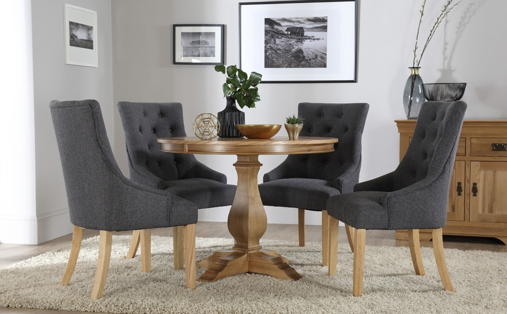 Cavendish Round Oak Dining Table And 4 Fabric Chairs Set (Duke Slate Regarding Oak Dining Tables And Fabric Chairs (Image 6 of 25)