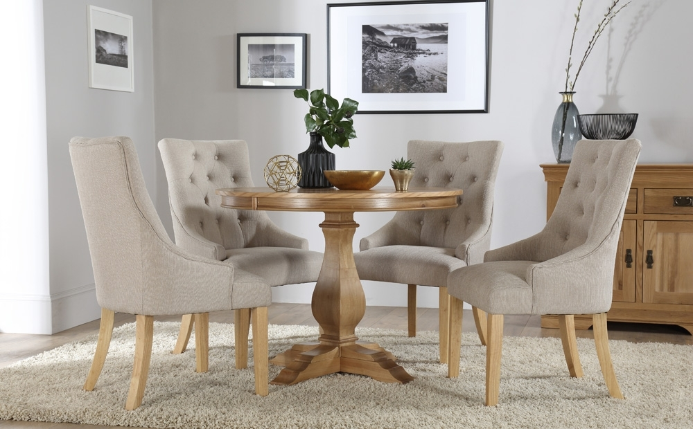 Cavendish Round Oak Dining Table And 4 Fabric Chairs Set (Duke Within Dining Tables And Fabric Chairs (View 1 of 25)