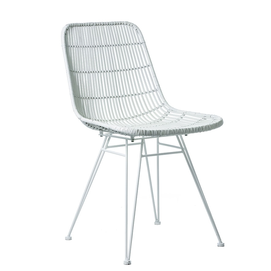 Cebu Rattan Dining Chair White – Furniture – Chairs – Adairs Online Inside White Dining Chairs (View 14 of 25)