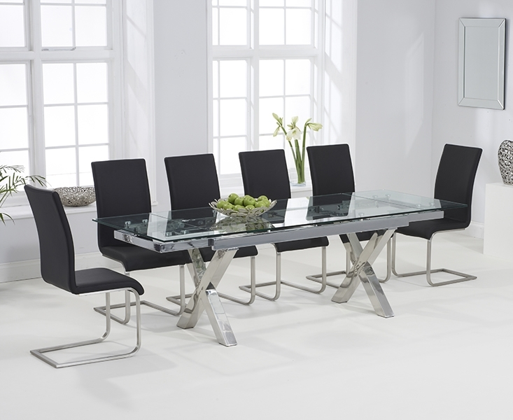 Celeste 160Cm Extending Glass Dining Table With Malaga Chairs Intended For Black Glass Extending Dining Tables 6 Chairs (Image 9 of 25)