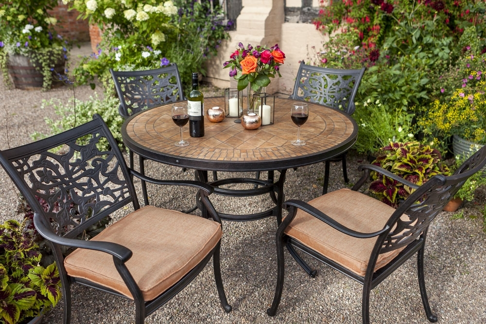 Celtic Aria 4 Seat Round Garden Dining Furniture Set – David Domoney For Garden Dining Tables (View 9 of 25)