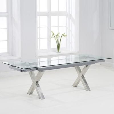 Centro Glass Extending Dining Table With 10 Milan Grey Chairs With Regard To Glass Folding Dining Tables (Image 5 of 25)