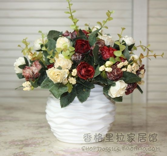 Ceramic Vase Rose Artificial Flower Decoration Set Coffee Table Within Artificial Floral Arrangements For Dining Tables (Image 9 of 25)