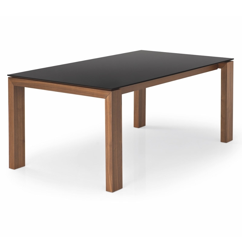 Cesena Glass Dining Table Throughout Glass Dining Tables With Wooden Legs (Image 5 of 25)