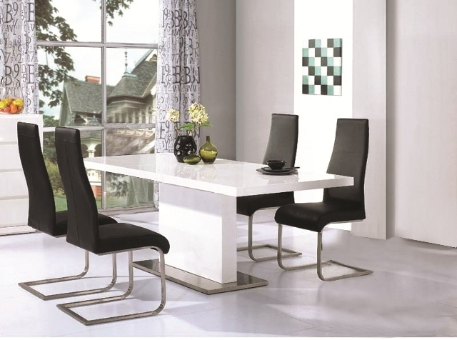 Chaffee High Gloss Dining Table Leather Steel Chairs Throughout White Gloss Dining Room Furniture (Image 7 of 25)