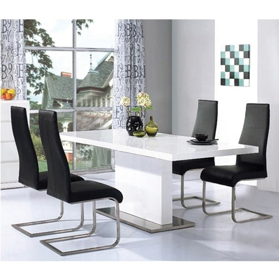 Chaffee High Gloss Dining Table Set 14951 Furniture In With Regard To High Gloss Dining Tables Sets (Image 4 of 25)