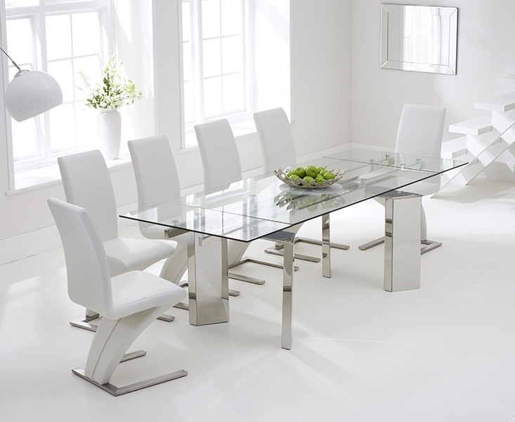 Chair Dining Tables Througho White Glass Dining Table And 6 Chairs With Regard To Glass Extendable Dining Tables And 6 Chairs (Image 8 of 25)