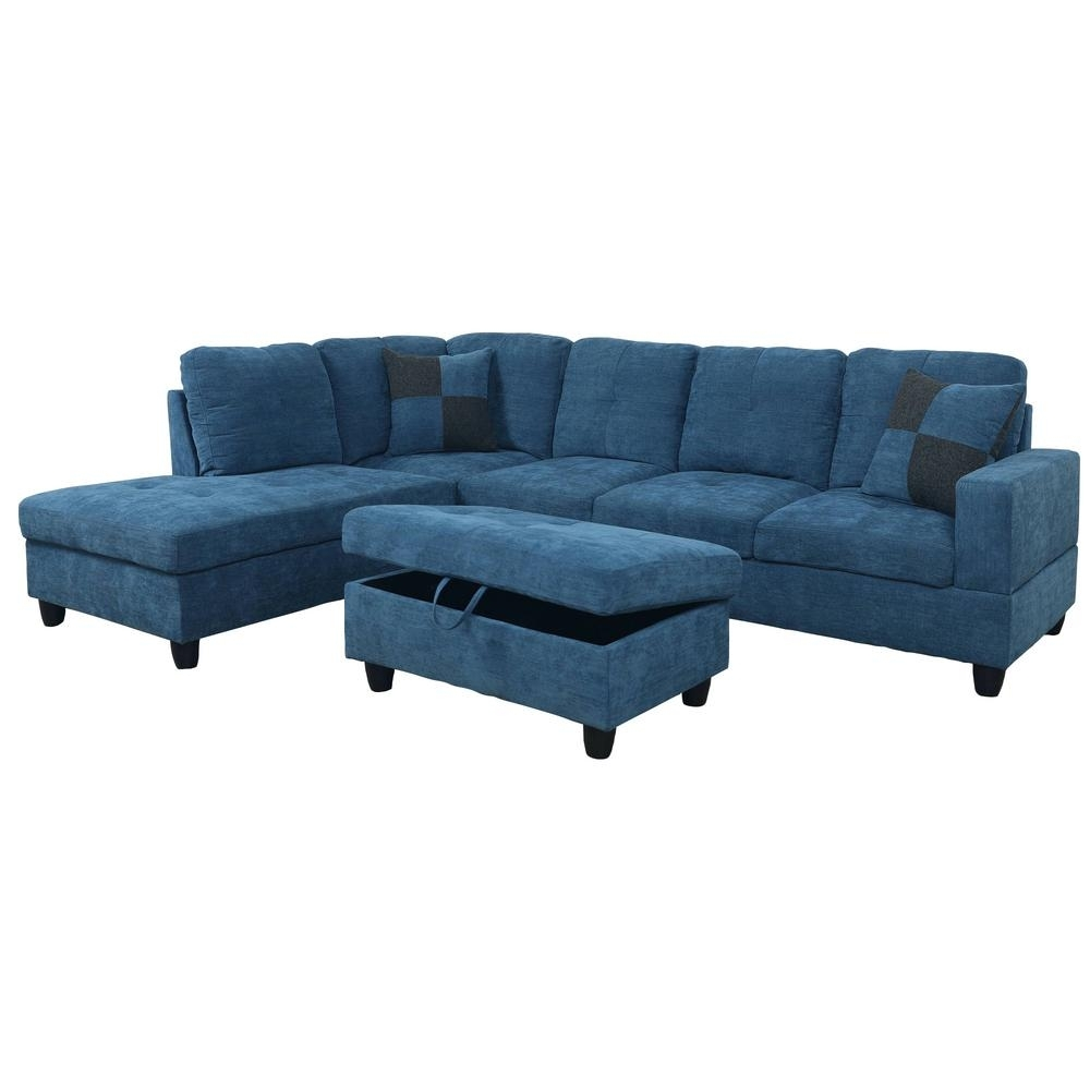 Chaise Sofa With Storage Ottoman | Baci Living Room Pertaining To Taren Reversible Sofa/chaise Sleeper Sectionals With Storage Ottoman (View 6 of 25)
