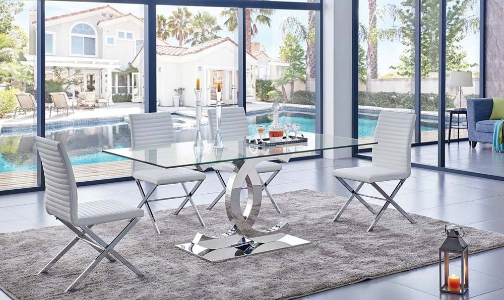 Chanelle Modern Glass Top Dining Table With Regard To Dining Room Glass Tables Sets (Image 9 of 25)