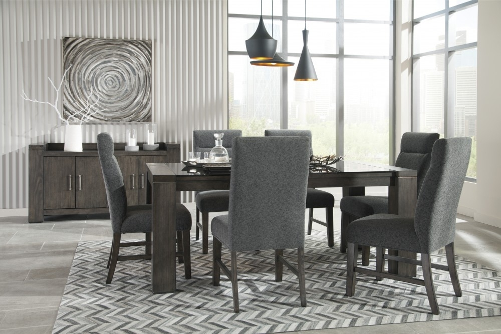 Chansey – Dark Grey – Rect Drm Table W/glass Top & 6 Uph Side Chairs With Market 6 Piece Dining Sets With Side Chairs (Image 7 of 25)