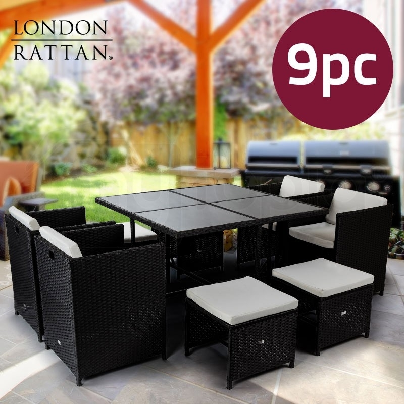 Charcoal 9 Piece Wicker   Shop Outdoor Dining Sets   Mytopia With Regard To Outdoor Dining Table And Chairs Sets (Image 6 of 25)
