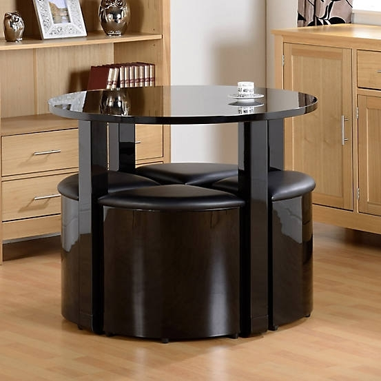 Charisma High Gloss Round Table & 4 Stools Stowaway Dining Set Regarding Stowaway Dining Tables And Chairs (View 16 of 25)