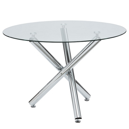 Charles Glass Dining Table Round In Clear With Chrome Legs Throughout Chrome Glass Dining Tables (Image 6 of 25)