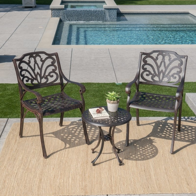 Charlton Home Kastner 3 Piece Conversation Set & Reviews   Wayfair Inside Palazzo 6 Piece Rectangle Dining Sets With Joss Side Chairs (Image 7 of 25)