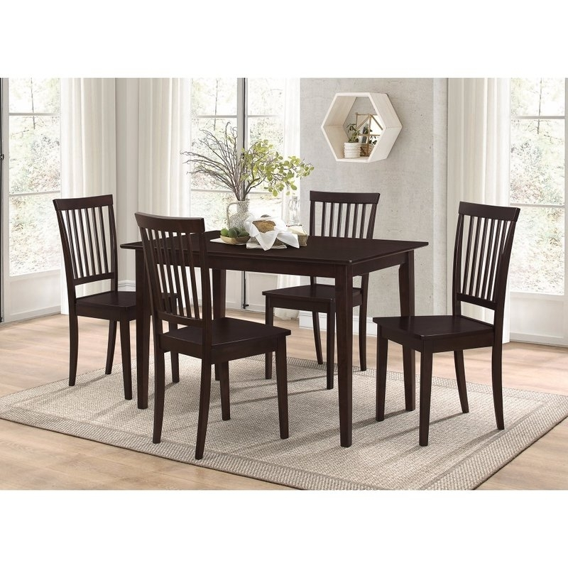 Charlton Home Puentes Wooden 5 Piece Dining Set | Wayfair In Candice Ii 5 Piece Round Dining Sets With Slat Back Side Chairs (Image 16 of 25)