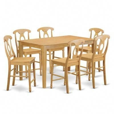 Charlton Home Smyrna 7 Piece Counter Height Pub Table Set #pubchairs With Palazzo 3 Piece Dining Table Sets (Image 8 of 25)