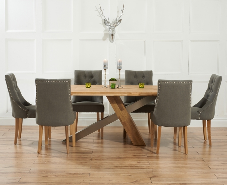 Chateau 195Cm Solid Oak And Metal Dining Table With Pacific Fabric For Oak Dining Tables And Fabric Chairs (Image 8 of 25)