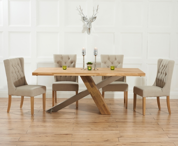 Chateau 225Cm Solid Oak And Metal Dining Table With Safia Fabric Chairs Intended For Oak Dining Tables And Fabric Chairs (Image 9 of 25)