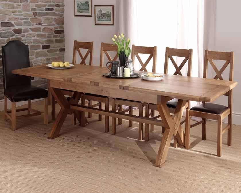 Chateau Solid Oak X Leg Extending Dining Table With Normandy X Back Regarding Extending Solid Oak Dining Tables (Image 6 of 25)