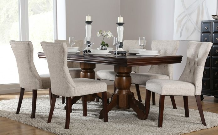 Chatsworth & Bewley Dark Wood Extending Dining Set (Oatmeal Throughout Chatsworth Dining Tables (Image 4 of 25)
