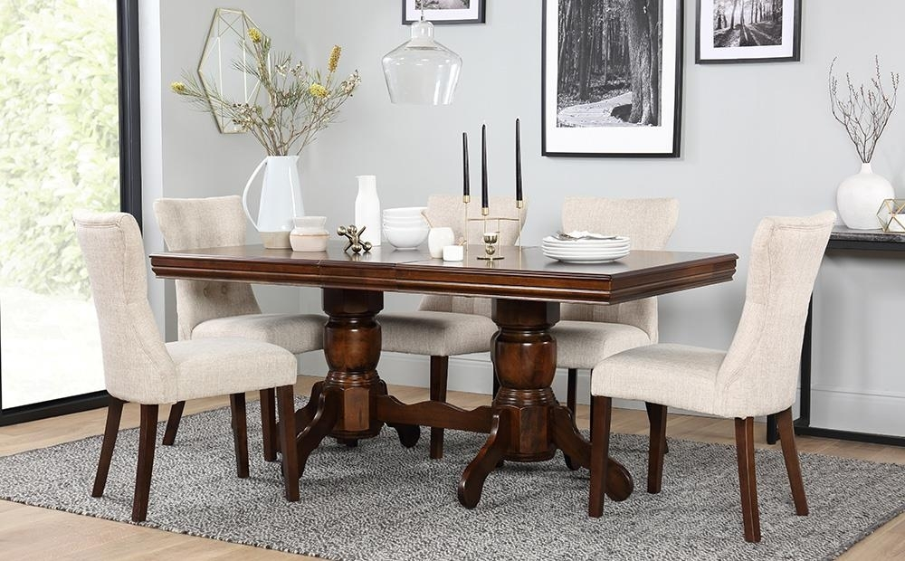 Chatsworth Dark Wood Extending Dining Table And 6 Chairs Set (Bewley Inside Dark Wood Dining Tables 6 Chairs (Image 3 of 25)