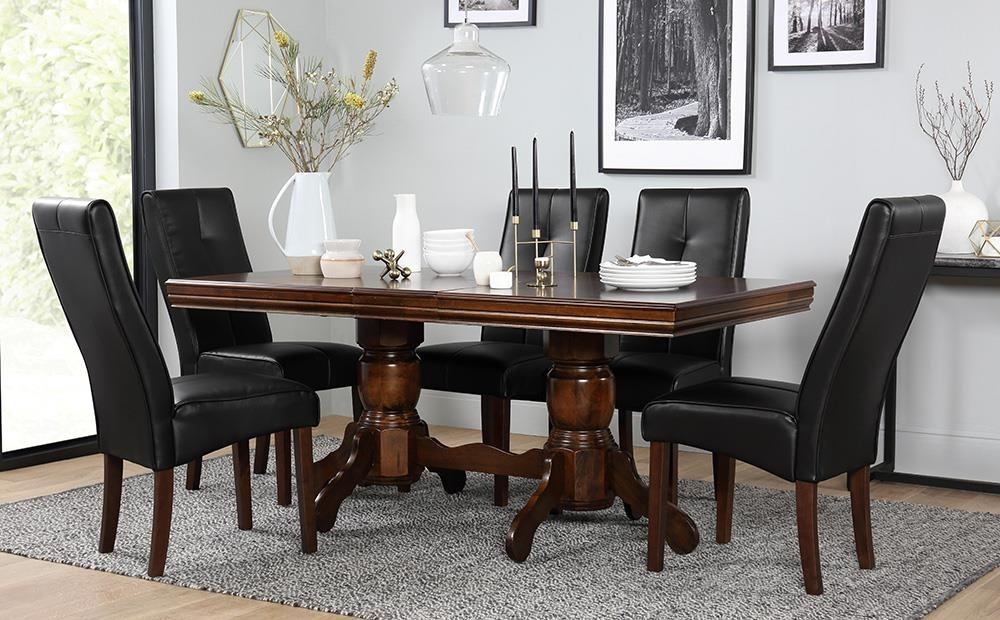 Chatsworth Dark Wood Extending Dining Table And 6 Chairs Set (Logan Within Logan 6 Piece Dining Sets (Image 6 of 25)