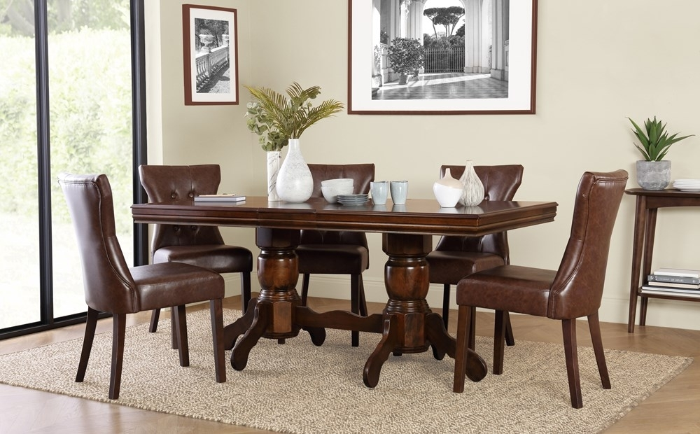 Chatsworth Dark Wood Extending Dining Table With 4 Bewley Club Brown Inside Dark Wood Extending Dining Tables (Image 6 of 25)