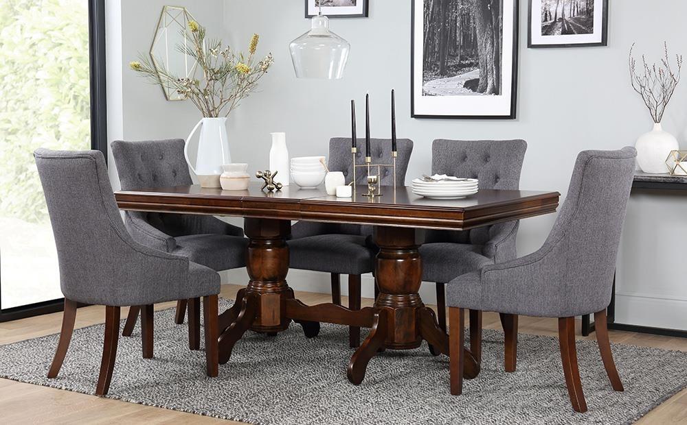 Chatsworth & Duke Extending Dark Wood Dining Table & 4 6 Chairs Set Regarding Dark Wood Dining Tables And 6 Chairs (Image 6 of 25)