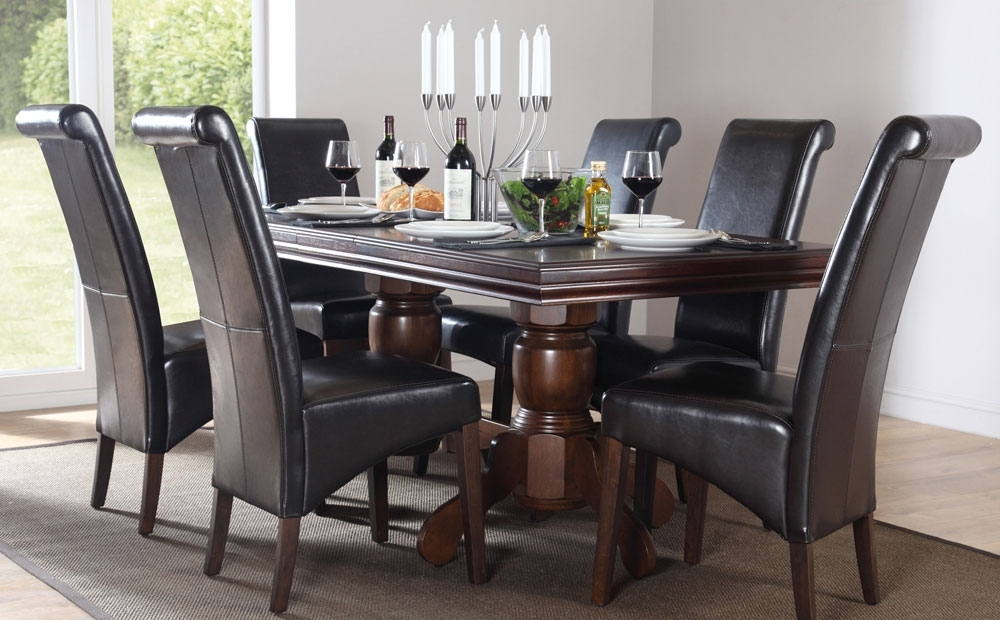 Chatsworth Extending Dark Wood Dining Table And 6 Chairs Set (Boston For Chatsworth Dining Tables (Image 6 of 25)