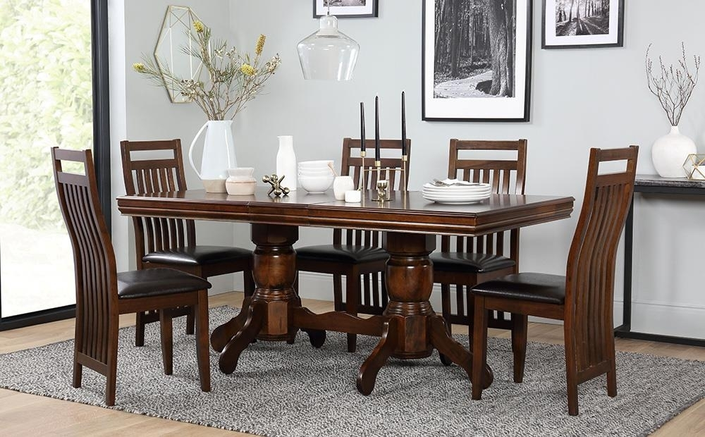 Chatsworth Extending Dark Wood Dining Table And 6 Java Chairs Set Within Wooden Dining Sets (Image 3 of 25)
