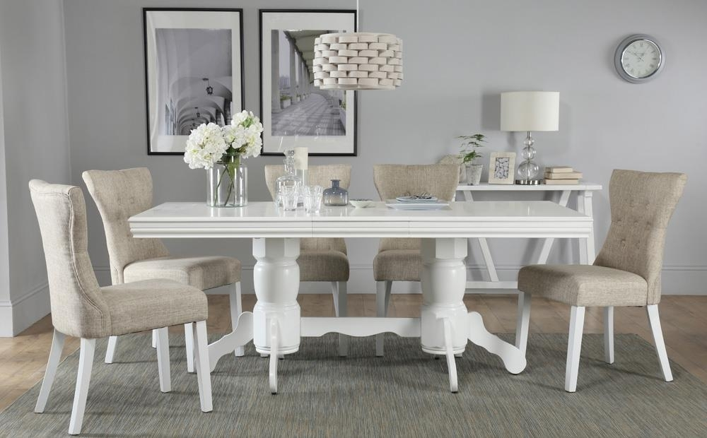 Chatsworth White Extending Dining Table With 6 Bewley Oatmeal Chairs With White Extendable Dining Tables And Chairs (View 20 of 25)