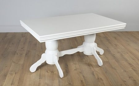 Chatsworth White Extending Dining Table – With 6 Bewley Slate Chairs In Chatsworth Dining Tables (Image 13 of 25)