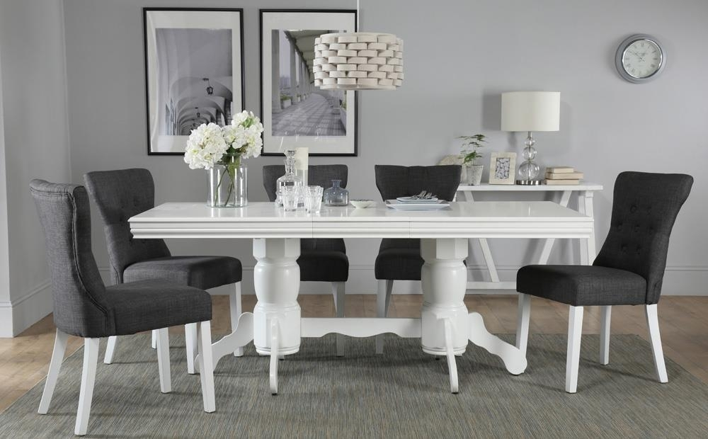 Chatsworth White Extending Dining Table With 6 Bewley Slate Chairs With Regard To Extending Dining Tables With 6 Chairs (Image 10 of 25)