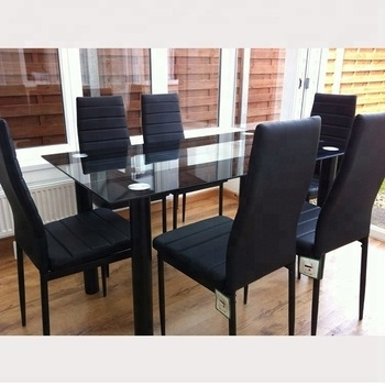 Cheap 6 Chairs Dining Table Set Modern Classic 6 Seater Luxury Glass Regarding 6 Seater Glass Dining Table Sets (Image 9 of 25)