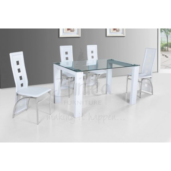 Cheap Birlea Finchley Glass And White High Glossdining Table Set For Intended For Glass And White Gloss Dining Tables (Image 4 of 25)